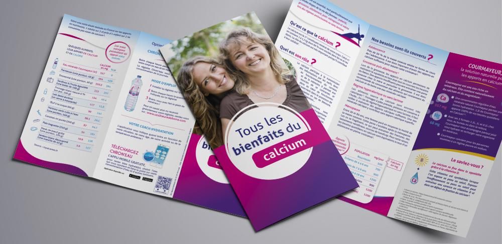 Création d'une brochure 3 volets : Eau Courmayer et Calcium