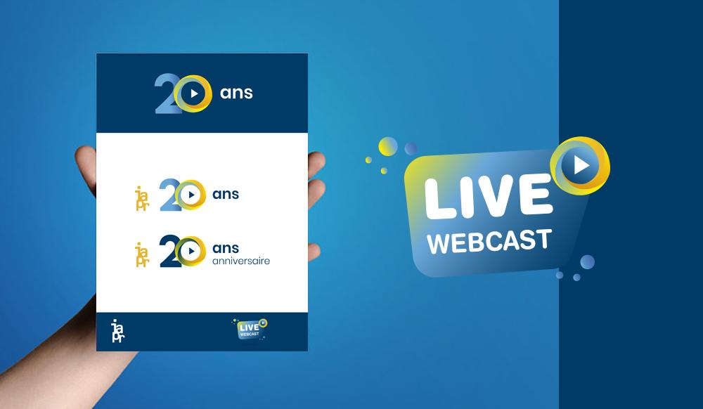 Création d'une charte - logo - pictos - bandeaux web - site internet pour les 20 ans de l'IAPR un webcast est organisé pour cet événement-anniversaire en live